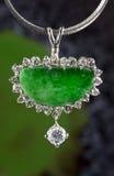 Нефрит Pendent и диаманты Стоковые Изображения RF