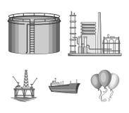Нефтеперерабатывающее предприятие, танк, топливозаправщик, башня Значки собрания масла установленные в monochrome стиле vector се Стоковая Фотография RF