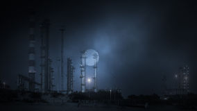 Нефтеперерабатывающее предприятие к ноча Стоковое Изображение RF
