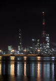 нефтехимический завод ночи Стоковые Фотографии RF