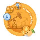 Нефтяная вышка с значком процесса добычи нефти Винтажное ретро развитие значка финансов стиля месторождения нефти на желтой задне иллюстрация штока