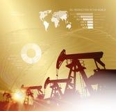 Нефтяная вышка infographic с этапами отростчатой добычи нефти Промышленное изображение с золотым стилем иллюстрация вектора