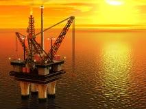 Нефтяная платформа в море иллюстрация штока