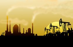 Нефтянное месторождение и рафинадный завод иллюстрация штока