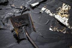 Нефтяное пятно на пляже Стоковое Изображение RF