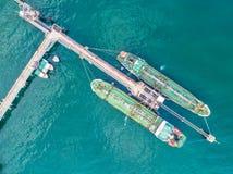 Нефтяной танкер, топливозаправщик газа в открытом море Груз s индустрии рафинадного завода Стоковое Фото