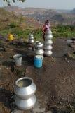 Нехватка воды в Jharia стоковые изображения rf