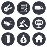 Недвижимость, значки аукциона Рукопожатие, для продажи Стоковое Изображение RF