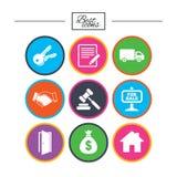 Недвижимость, значки аукциона Рукопожатие, для продажи Стоковая Фотография RF