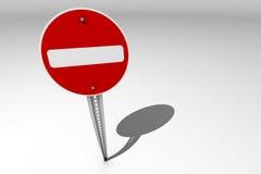 Не войдите в/неправильный путь подпишите сверх яркую предпосылку Стоковое Фото