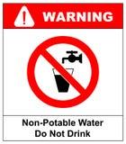Не выпейте знак запрета воды также вектор иллюстрации притяжки corel Стоковое фото RF