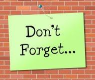 Не забудьте что выставки учитывает и повестка дня Стоковое Изображение