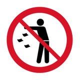 Не засоряйте значок Держите его чистый знак запрета Бросая значок запрещенный отбросом иллюстрация штока