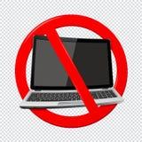 Не используйте ноутбук - знак запрета изолированный на прозрачной предпосылке иллюстрация вектора