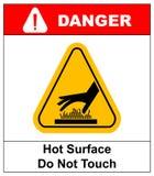 Не касайтесь вектору иллюстрации знаков опасности горячей поверхности Стоковые Изображения