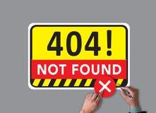 Не нашл проблема отказа 404 ошибок предупреждающая Стоковое фото RF