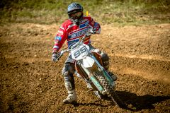 Не определенный всадник на польском чемпионате Польше Motocross, Гданьске 11 Septemeber 2016 Стоковое Фото