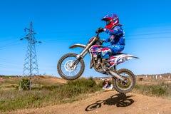 Не определенный всадник на польском чемпионате Польше Motocross, Гданьске 11 Septemeber 2016 Стоковое Изображение RF