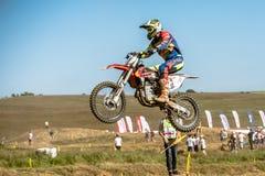 Не определенный всадник на польском чемпионате Польше Motocross, Гданьске 11 Septemeber 2016 Стоковое фото RF