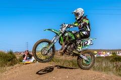 Не определенный всадник на польском чемпионате Польше Motocross, Гданьске 11 Septemeber 2016 Стоковая Фотография RF