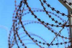 Не пересеките, forbitten Военная область Колючая проволока : стоковое изображение rf