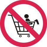 Не положите ребенка на вагонетку вектор знака запрета иллюстрация штока