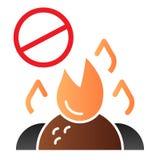 Не сгорите ненужный плоский значок Горя значки цвета запрета отброса  иллюстрация штока