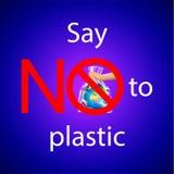Не скажите не к пластиковому тексту с пересеченным вне красным знаком круга или запрета на руке человека держа землю планеты в по бесплатная иллюстрация