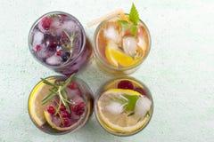 4 не спиртных коктеиля плодоовощ аранжировали на зеленой таблице t Стоковая Фотография
