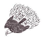 Не спросите действует Орел нарисованный рукой стилизованный печать иллюстрация вектора