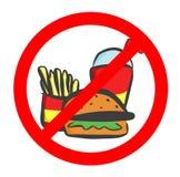 Не съешьте и не выпейте символ Отсутствие еды или выпивать, знак запрета также вектор иллюстрации притяжки corel иллюстрация вектора