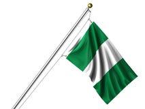 нигерийское изолированное флагом Стоковая Фотография