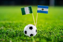 Нигерия - Аргентина, группа d, Tuesday, 26 Футбол -го июнь, кубок мира, Россия 2018, национальные флаги на зеленой траве, белом ф стоковая фотография rf