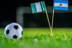 Нигерия - Аргентина, группа d, Tuesday, 26 Футбол -го июнь, кубок мира, Россия 2018, национальные флаги на зеленой траве, белом ф стоковое фото