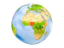 Нигерия на изолированном глобусе стоковая фотография