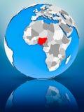 Нигерия на политическом глобусе стоковое изображение
