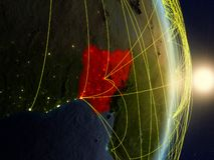 Нигерия на сетевой земле планеты стоковые изображения rf
