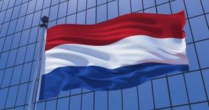 Нидерландский флаг на предпосылке здания небоскреба иллюстрация 3d иллюстрация вектора