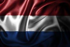 Нидерландский Silk флаг сатинировки Стоковые Изображения