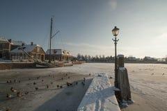 Нидерланд, ландшафты и мельницы в wintertime стоковое фото rf