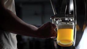 Ниже снятый свеж-произведенный лить работника винзавода beed в стекле для того чтобы испытать качество видеоматериал