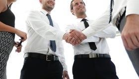 Нижний взгляд коллеги дела рукопожатия Стоковые Изображения RF