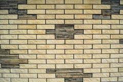 нижний желтый цвет стены верхней части текстуры коричневого цвета кирпича Стоковые Фото