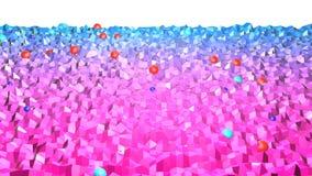 Низкая поли абстрактная предпосылка с современными цветами градиента Голубая поверхность фиолета 3d V14 Стоковая Фотография