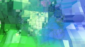 Низкая поли абстрактная предпосылка с современными цветами градиента Поверхность голубого зеленого цвета 3d с решеткой в воздухе  Стоковые Фотографии RF