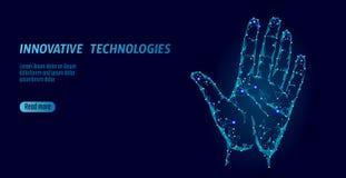 Низкая поли безопасность кибер развертки руки Личный код ID handprint отпечатка пальцев идентификации Доступ безопасности данным  иллюстрация вектора