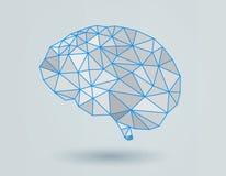 Низкая поли иллюстрация мозга на белом BG иллюстрация штока