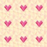 Низкая поли картина сердца Предпосылка влюбленности вектора безшовная Стоковые Изображения RF