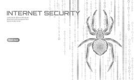 Низкая поли опасность нападения хакера паука Концепция антивируса безопасности данным по вируса безопасностью сети Полигональное  иллюстрация штока