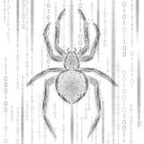 Низкая поли опасность нападения хакера паука Концепция антивируса безопасности данным по вируса безопасностью сети Полигональное  иллюстрация вектора
